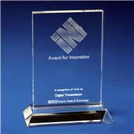 Crystal 'Ice Clear' Awards Plaque with 3D Laser Engraving