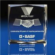 Faceted Square Award with 3D Laser Engraving