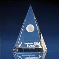 Pyramid Crystal Award with 3D Laser Engraving