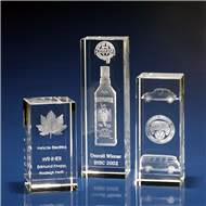 Crystal Rectangle Tower Corporate Award with 3D Laser Engraving