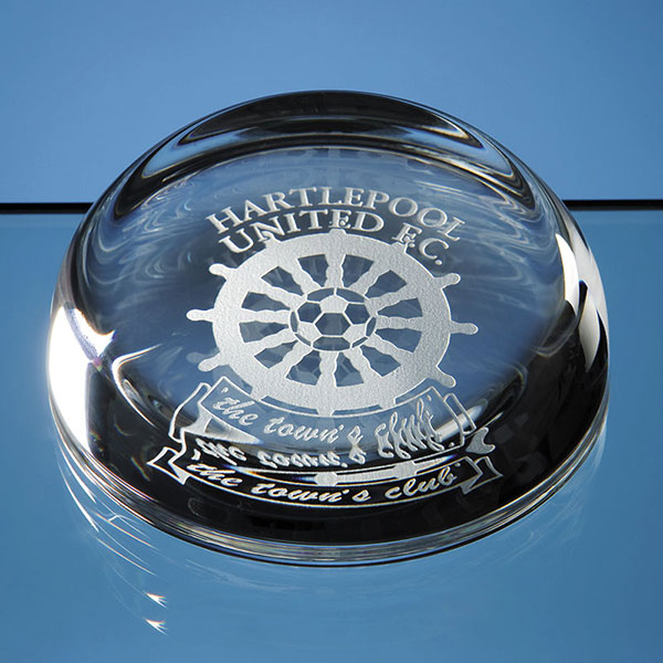 9cm Lead Crystal Flat Top Dome Paperweight
