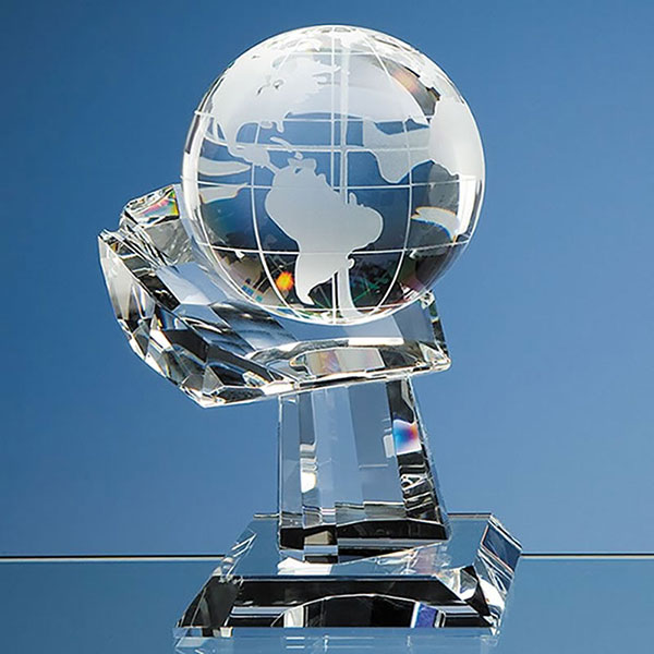 100mm Optic Crystal Globe on Hand