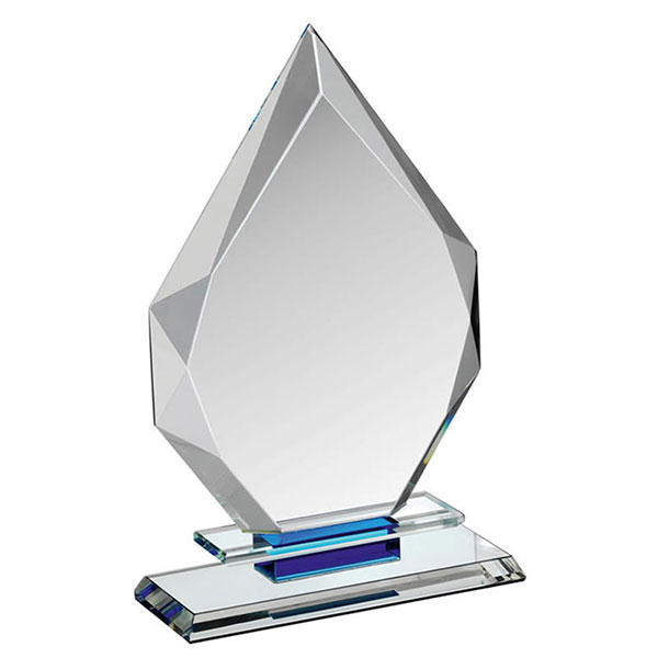 7in Clear/Blue Glass Peak Award