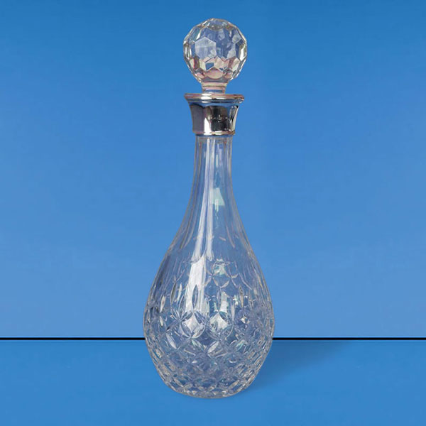 Cut Crystal Wine Decanter with Sterling Silver Collar