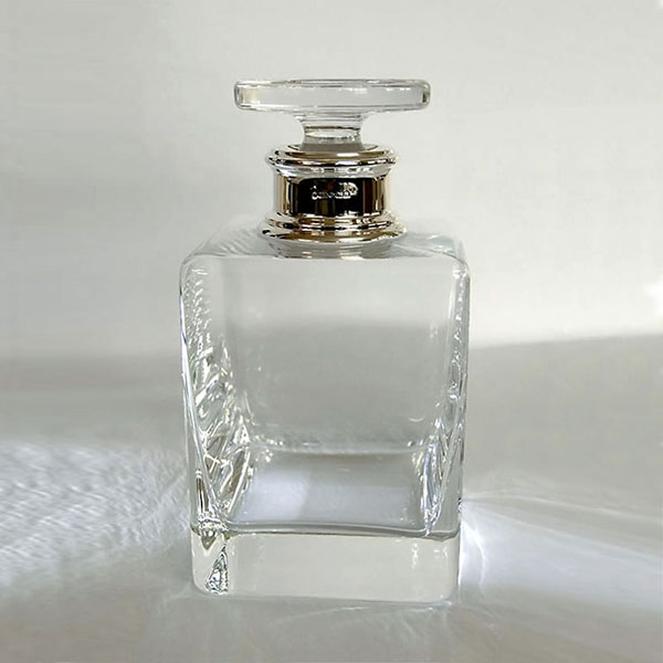 Square Whisky Decanter with Sterling Silver Collar