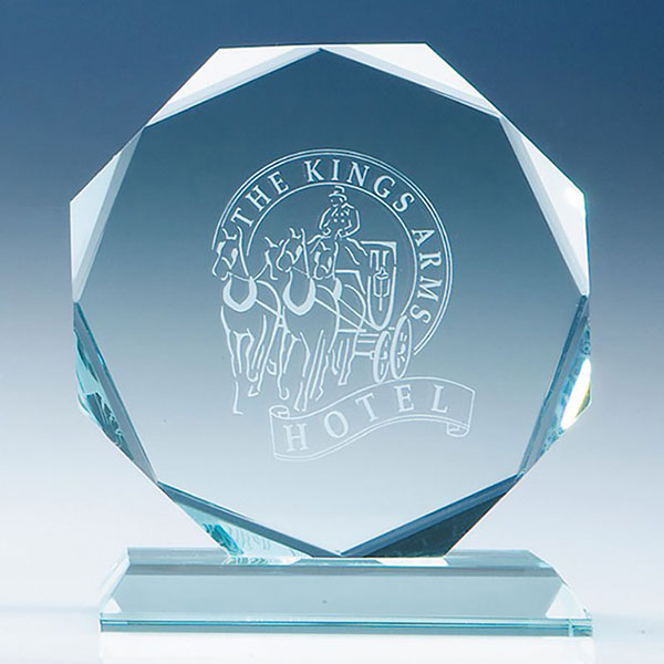5in Jade Glass Facet Octagon Award
