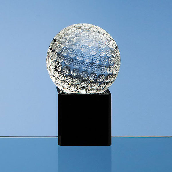60mm Crystal Golf Ball on Black Base