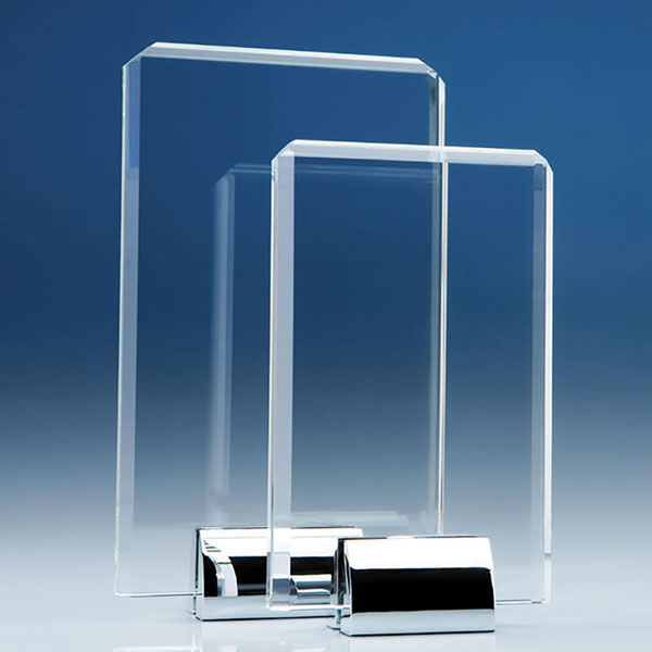20cm Optical Crystal Rectangular Plaque on Chrome Stand