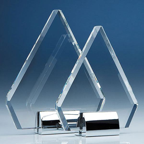 18cm Optic Diamond Plaque on Chrome Stand