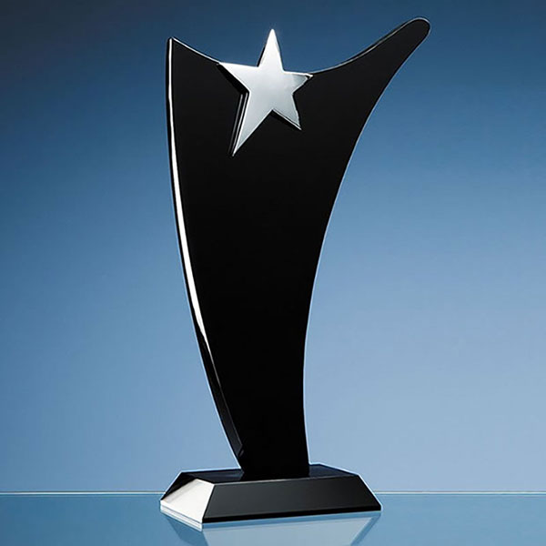 Black Optical Crystal Swoop Award with Silver Star 30cm