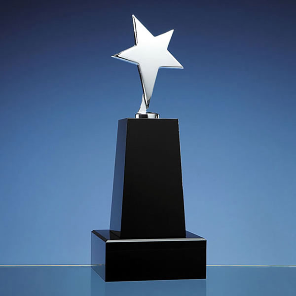 23cm Black Optic Column Award with Silver Star