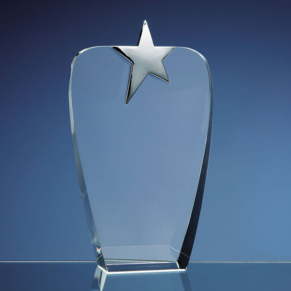 Clear Optic Crystal Oval Award with Silver Star 22.5cm
