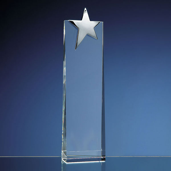 Engraved Optical Crystal Wedge with Silver Star 27.5cm
