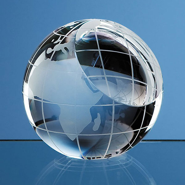 80mm Optic Crystal Globe Paperweight