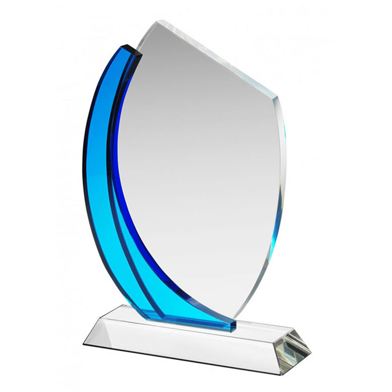 725in Clear Blue Glass Plaque HC020A