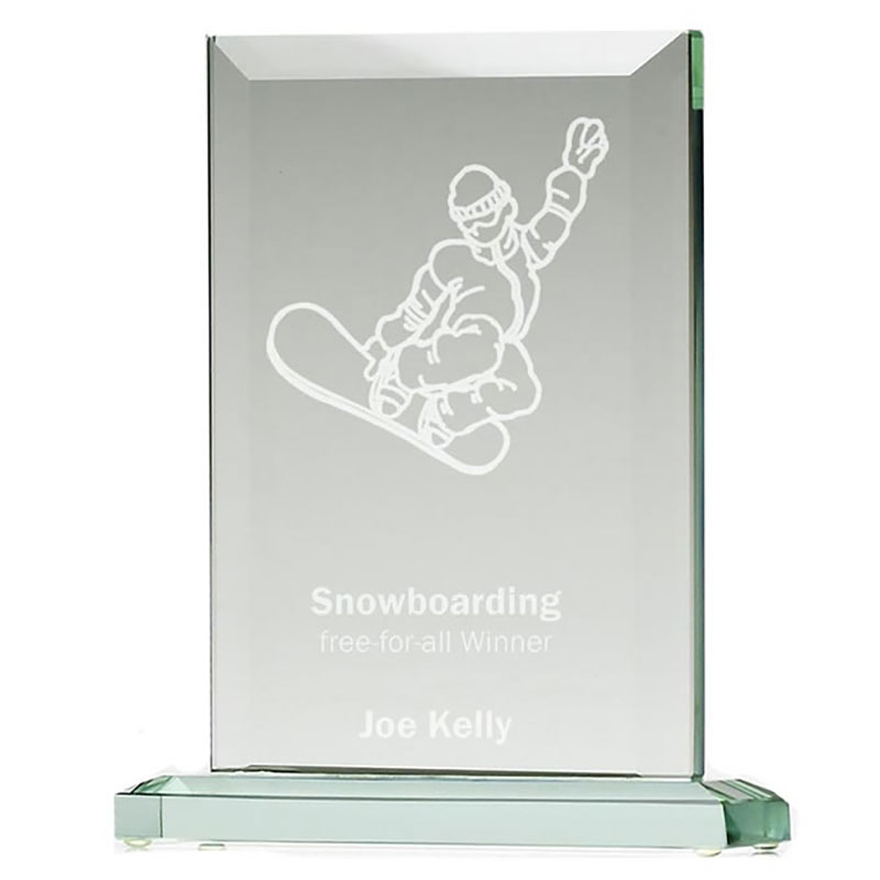 8in Jade Glass Classic Peak Award