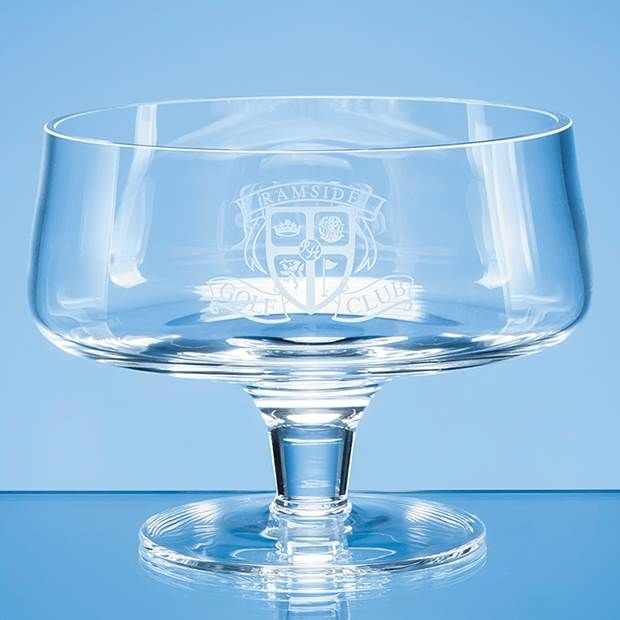20cm Handmade Plain Footed Glass Bowl