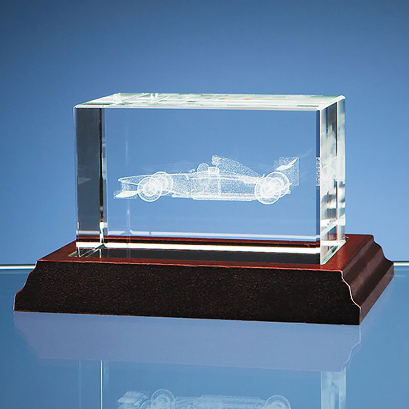 3d Formula One Racing Car In Crystal Block Crystal