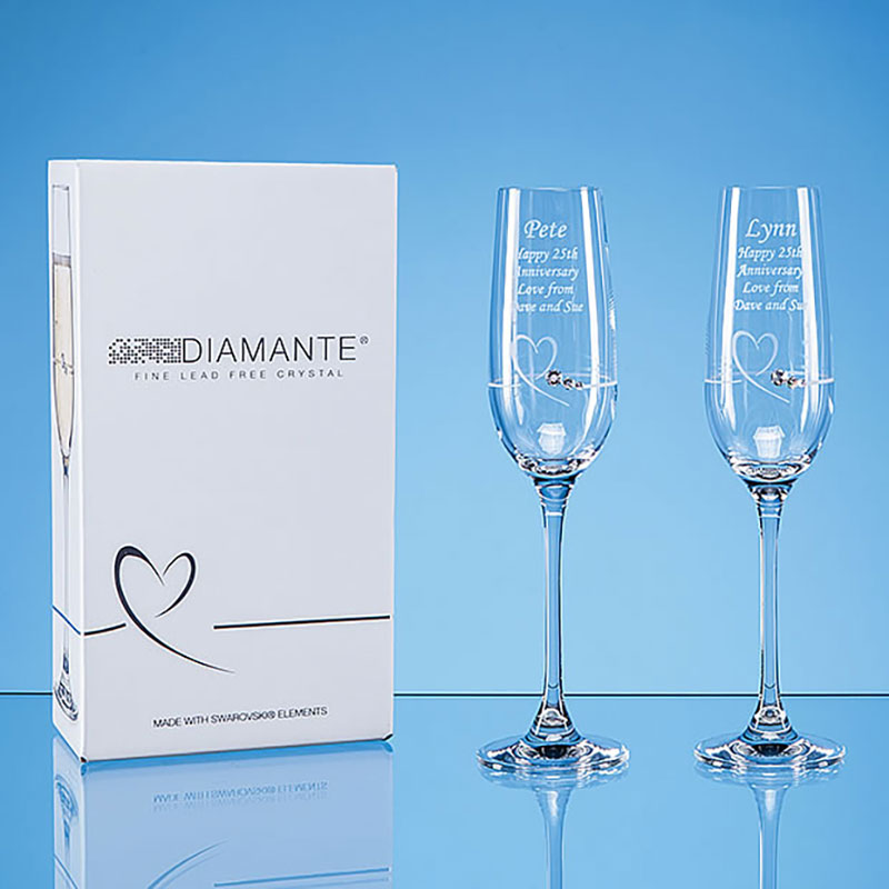 Engraved Pair Diamante Flutes with Heart Motif