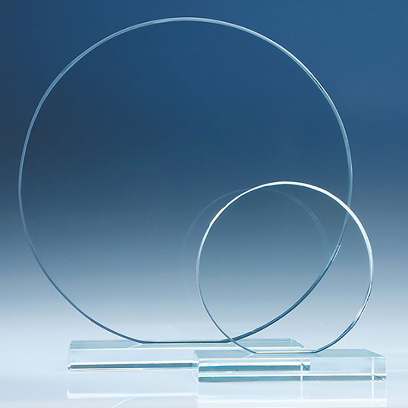 6in Engraved Glass Circle Flat Glass Awards Crystal
