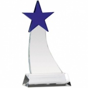 Engraved Optical Crystal Blue Aquarius Star Award