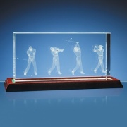 3D Optical Crystal Block - Golf Scene