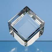 8cm Optical Crystal Bevel Edged Cube