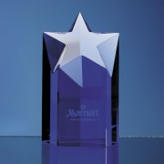 Engraved Blue Optical Crystal Star Column Award 6in