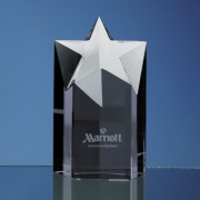 Engraved Black Onyx Crystal Star Award 6in
