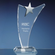 Engraved Optic Swoop Award with Silver Star 25cm