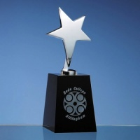 20cm Black Optic Column Award with Silver Star