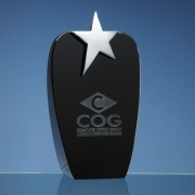 Engraved Black Optical Crystal Oval Award with Silver Star 22.5cm
