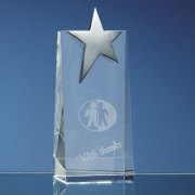 Engraved Optical Crystal Wedge with Silver Star 17.5cm
