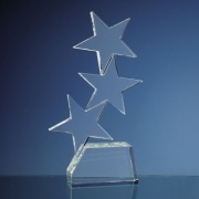 Engraved Optic Crystal Triple Rising Star Award