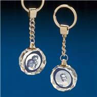 Crystal Circle Keyrings with 3D Laser Engraving