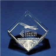 Crystal Cube Slant Award with 3D Laser Engraving