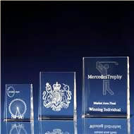 Tapered Portrait Crystal Award with 3D Laser Engraving
