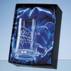 20.5cm Tiesto Conical Glass Vase with Modern Cut Pattern