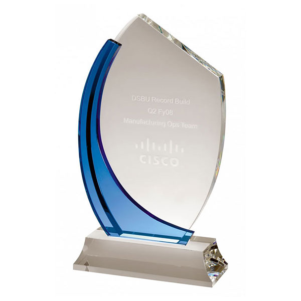10.5in Clear & Blue Glass Curve Award