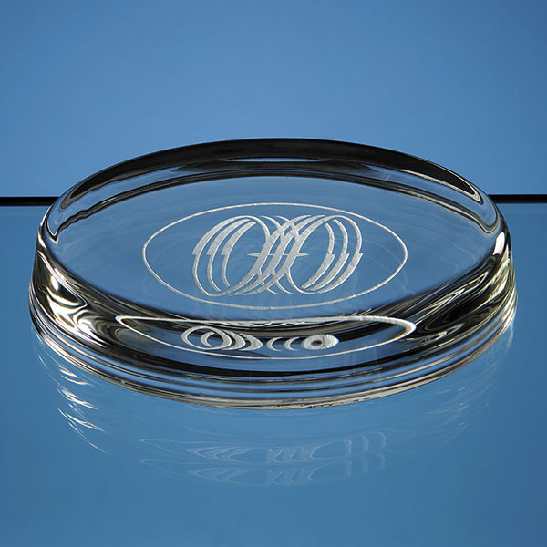 10cm Oval Glass Paperweight