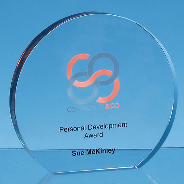 Clear Glass Freestanding Circle Award 12.5cm x 19mm