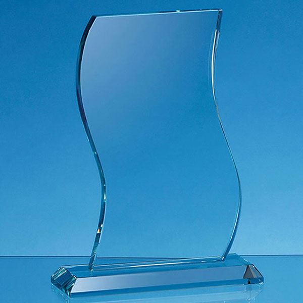 Jade Glass Wave Shape Plaque 20.5x13cm