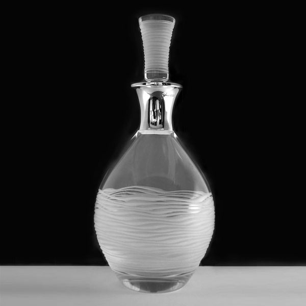 Handcut Crystal Ice Decanter with Sterling Silver Collar