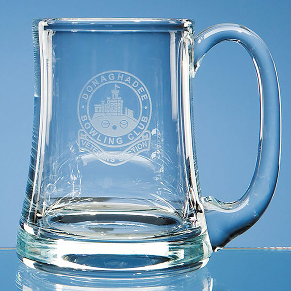 Engraved Glass Pint Aleman Tankard