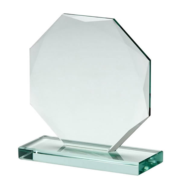 Engraved 12cm Jade Glass Skye Facet Octagon