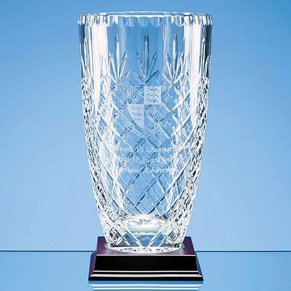 25cm Lead Crystal Panelled Barrel Vase