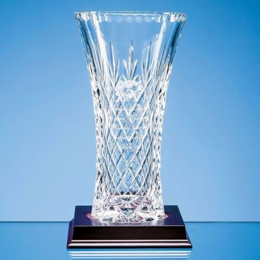 Lead Crystal Panelled Flared Vase 255mm Tall