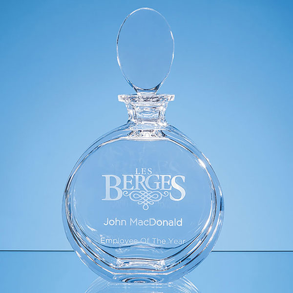 Engraved Lead Crystal Elena Round Spirit Decanter