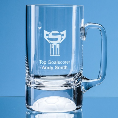 One Pint Crystal Football Tankard L316