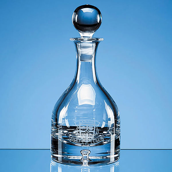 Engraved Crystal Bubble Base 0.6ltr Round Wine Decanter
